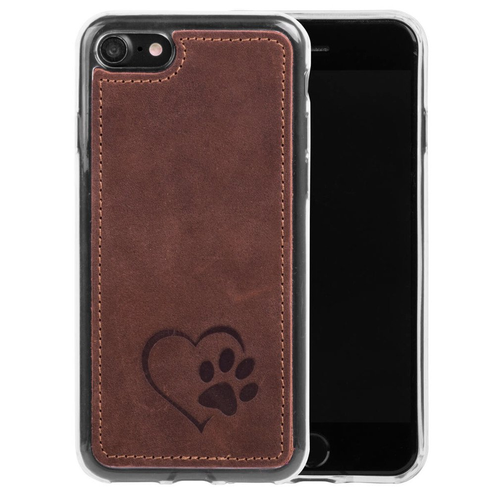 Back case - Nubuck Nut brown - Heart and paw