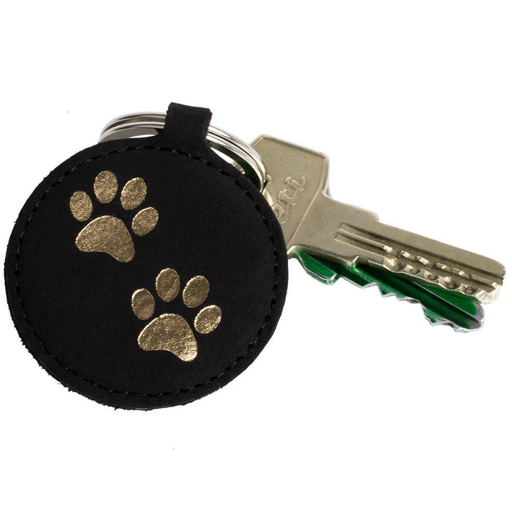 Keychain - Nubuck Black - Two Paws Gold