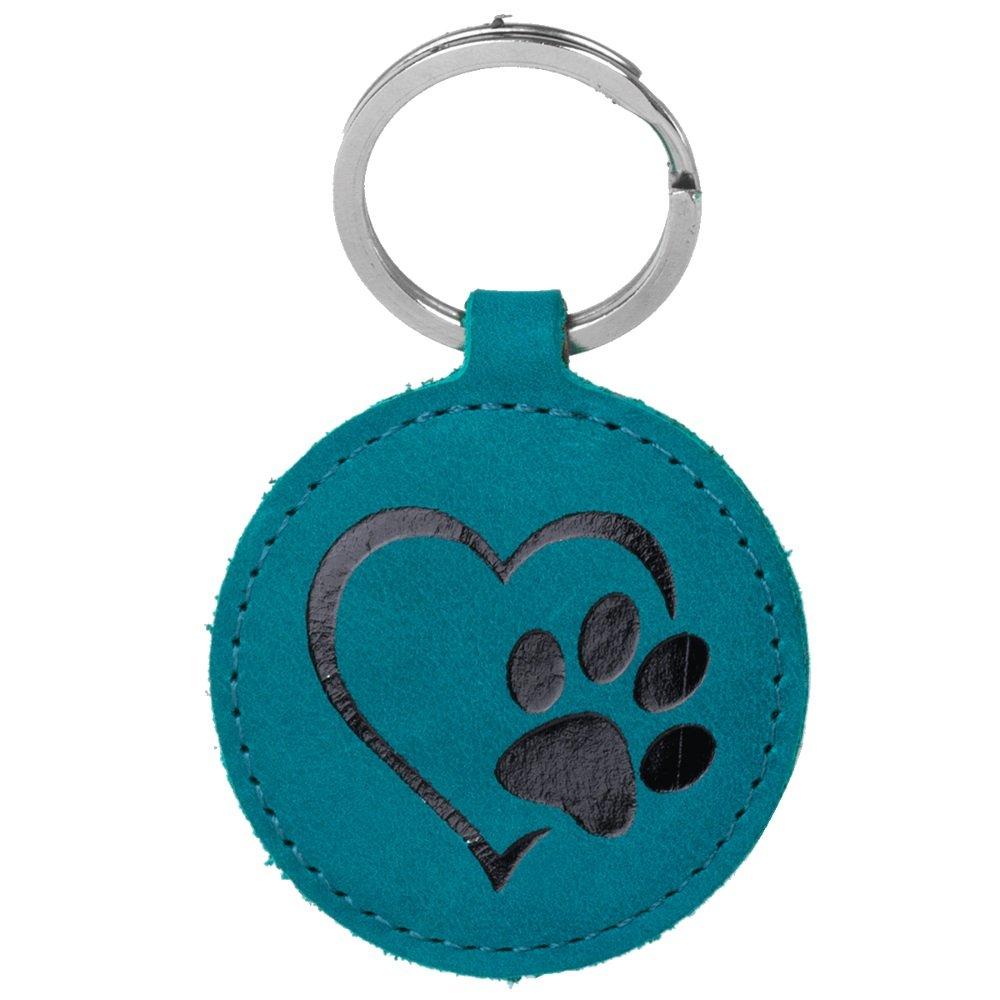 Keychain - Nubuck Turquoise - Black Paw in Heart