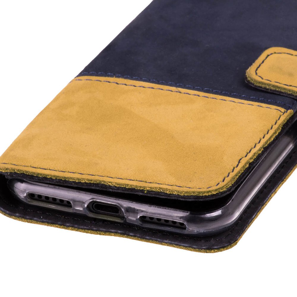Wallet case Duo - Navy blue and Camel
