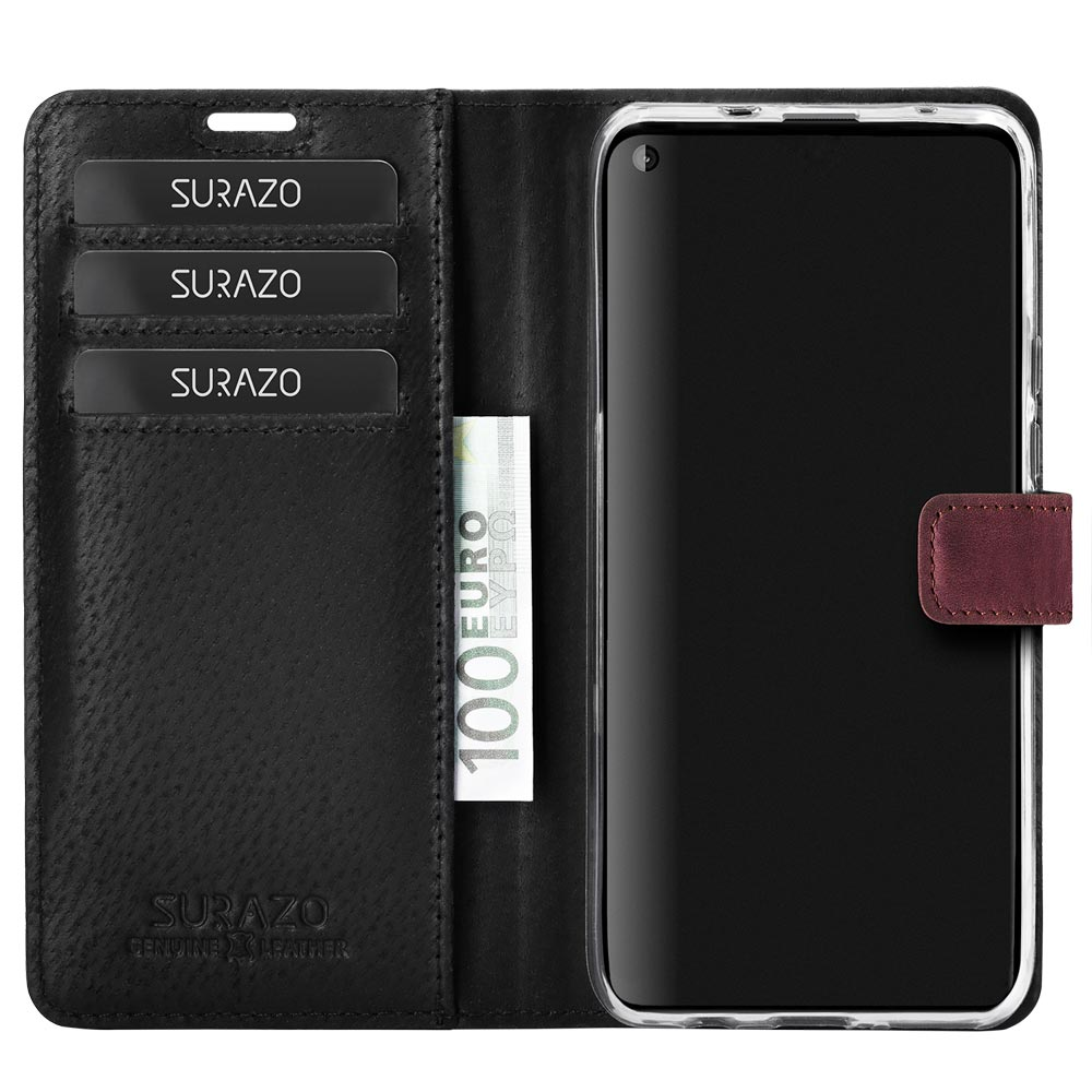 Wallet case - Nubuck Burgundy - Paw black