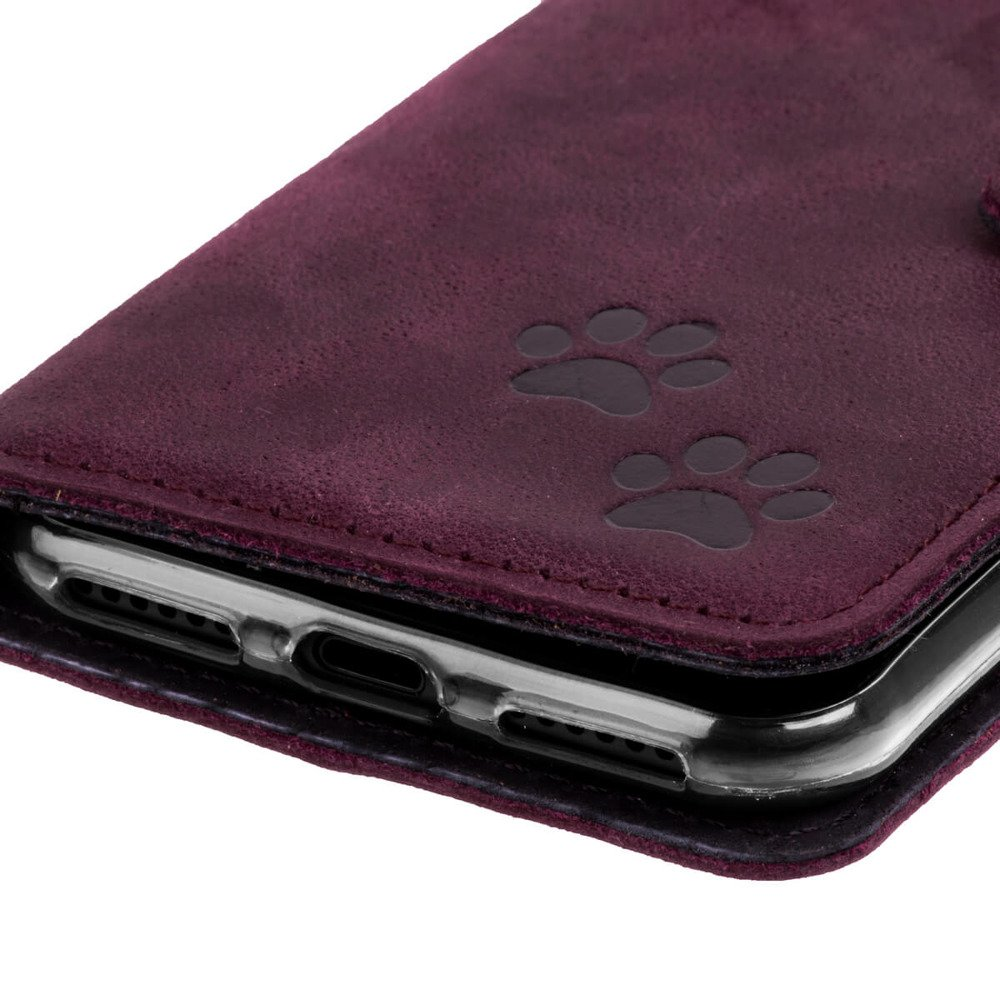 Wallet case - Nubuck Burgundy - Two Paws Black