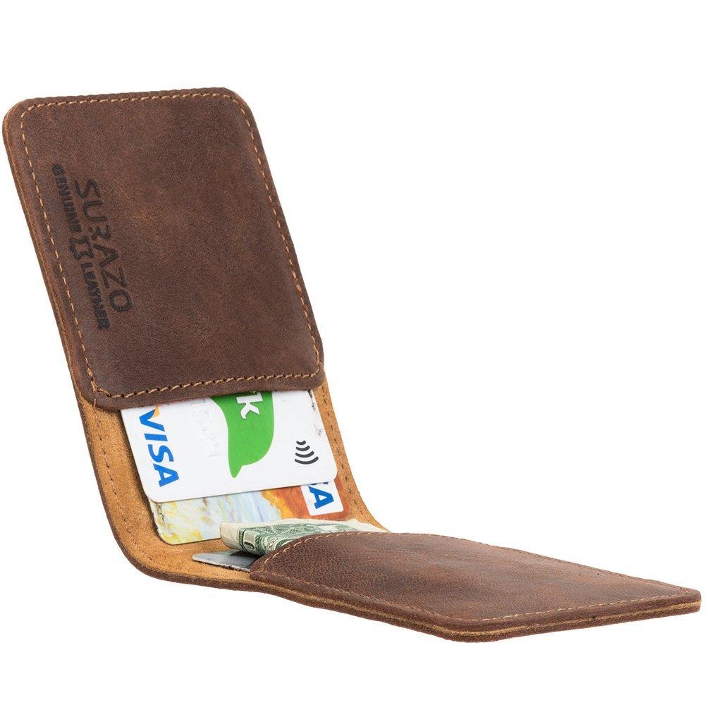 Etui na karty i wizytówki - Nubuk Orzechowy
