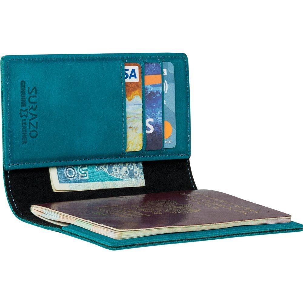 Etui na paszport z miejscem na karty - Nubuk Turkus
